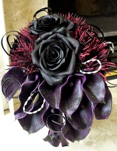"""Photo: Having fun making a Gothic """"Twas the Nightmare Before Christmas"""" Halloween wedding bouquet. Love the drama that Gothic weddings bring. #gothicwedding #HalloweenWedding #weddingflowers"""