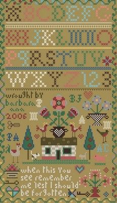 Small House Sampler free Barbara ana designs; she has 5 pages of free patterns.  Thank you, so generous.