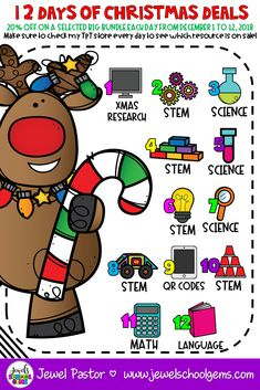 Welcome to 12 Days of Christmas Deals on Jewel's School Gems! From December 1 to 2018 find great deals on the biggest bundles from my TpT store! Teacher Blogs, Teacher Resources, Teacher Pay Teachers, Elementary Teacher, Math Stem, Stem Science, Christmas Deals, 12 Days Of Christmas, Holiday