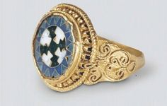 Original find - Byzantine Ring with Enamel, Staraya Ladoga, Russia. 10th century, Silver.