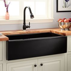Buy the Signature Hardware 420795 Black Direct. Shop for the Signature Hardware 420795 Black Mitzy Single Basin Fireclay Reversible Farmhouse Sink with Smooth Apron and save. Black Farmhouse Sink, Fireclay Farmhouse Sink, Farmhouse Sink Kitchen, Modern Farmhouse Kitchens, White Kitchen Cabinets, Diy Cabinets, Black Kitchens, French Farmhouse, Farmhouse Decor