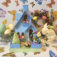 Putz Glitterhouse Easter Cottage(Medi by glitteratmidnight on Etsy https://www.etsy.com/listing/224942169/putz-glitterhouse-easter-cottagemedi