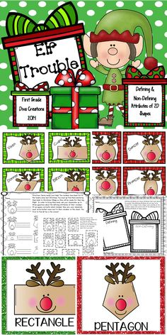$ Let these adorable reindeer lead your students to an understanding of defining and non-defining attributes of two dimensional shapes. #BestofFirstGradeGeometry #DefiningNonDefiningAttributesofShapes