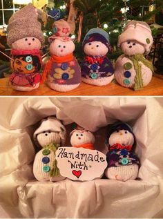 """Sock Snowman Craft - Thinking these would be cute for the """"kindness elves"""" :) Sock Snowman Craft, Felt Snowman, Sock Crafts, Snowman Crafts, Holiday Crafts, Diy Crafts, Snowmen, Merry Little Christmas, Christmas Holidays"""