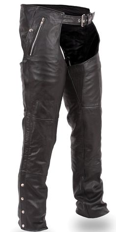FMC Patriot Biker Style Cowhide Leather Insulated Motorcycle Chaps made of soft milled cowhide leather with snap out removable insulated liner for cold weather, leg zippers for easy on or off, and zipper pockets with trimmable length for bikers and motorcycle riders. Cowhide Leather, Leather Men, Leather Pants, Black Leather, Biker Leather, Motorcycle Chaps, Biker Vest, Fishnet Tights, Biker Style