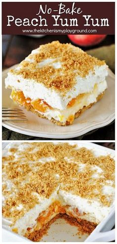 No bake peach yum yum ~ a classic layered no bake dessert with a graham cracker crust and peach pie filling sandwiched between two creamy layers it s sure to be a hit! thekitchenismyplayground com no bake cheesecake with a surprise inside Desserts For A Crowd, Köstliche Desserts, Summer Desserts, Delicious Desserts, Yummy Food, Easy No Bake Deserts, Easy Italian Desserts, Layered Desserts, Cheesecake Desserts
