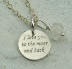 I Love You to the Moon and Back  in sterling by KathrynRiechert, $26.00