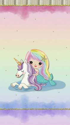 Mermaid and unicorn Unicorn Drawing, Unicorn Art, Magical Unicorn, Cute Unicorn, Unicorn Poster, Mermaid Wallpapers, Cute Wallpapers, Image Deco, Unicorn Pictures