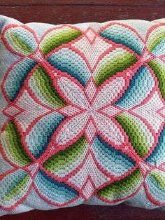 One small patch with discoloration, as shown. The cover is removable from the pillow. Bargello Patterns, Bargello Needlepoint, Bargello Quilts, Needlepoint Stitches, Needlepoint Pillows, Needlework, Yarn Thread, Yarn Crafts, Hand Embroidery
