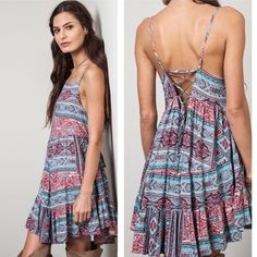 Final Reduction!  Pretty Boho Chic Dress Pretty Boho Chic Dress with lace up back Boutique Dresses