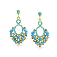 Amazon.com: Bling Jewelry Gold Plated Estate Blue Crystal Chandelier Earrings: Clothing