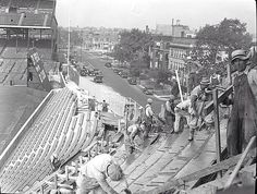 The bleachers being constructed at Wrigley Field (1937)