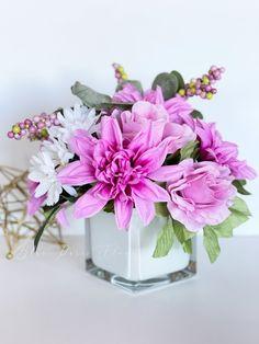 Dahlia, Roses Daisies Arrangement, Faux Flowers in Vase, Floral Decor Centerpiece, Artificial Flowers Silk Floral Arrangement, Home Decor