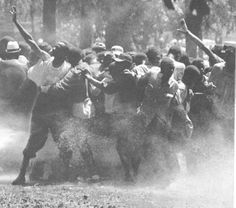 Participants in the Children's Crusade being attacked with fire hoses, Birmingham, Alabama, 1963.