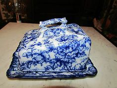 Antique Flow Blue Cheese Serving Dish w Cover Cavendish Pattern | eBay