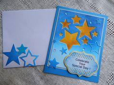 Handmade Birthday Card: complete card, handmade, balsampondsdesign, birthday, greeting cards, birthday card, stars, blue, shimmer by balsampondsdesign on Etsy