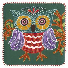 Pier 1 Green Embroidered Owl Art