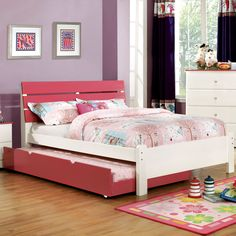 Furniture of America Piers Two-tone /White Slatted Platform Bed