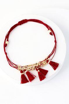 Nepal Gold and Burgundy Beaded Tassel Bracelet 1