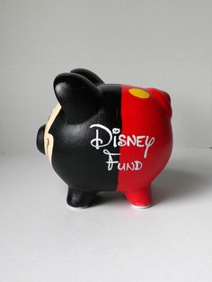 Hand Painted Mickey Inspired Piggy Bank Mickey by EmbellishCraft (Alcancia Diy Manualidades) Pottery Painting, Ceramic Painting, Mickey Decorations, Pig Bank, Color Me Mine, Paint Your Own Pottery, Cute Piggies, This Little Piggy, Mickey Minnie Mouse