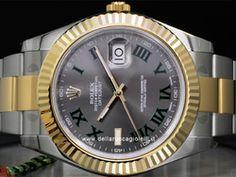 Rolex - Datejust II 116333 Cassa: acciaio/oro - 41 mm Ghiera: oro giallo Vetro: zaffiro Quadrante: ardesia - numeri romani Bracciale: oyster Chiusura: oysterclasp Movimento: automatico Rolex Datejust Ii, Rolex Watches, Watch