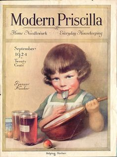 "September 1924 Modern Priscilla magazine cover - Cover Art ""Helping Mother"" by Annie Benson Muller Vintage Labels, Vintage Cards, Vintage Images, Vintage Modern, Vintage Pictures, Funny Pictures, Old Magazines, Vintage Magazines, Magazine Art"