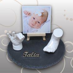Babyabdrücke auf einer Schifferplatte-Geschenk für die Tante, Ivana Irmscher Be happy Gipsabdruck Fürth, www.be-happy-gipsabdruck.de