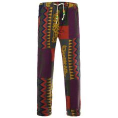 Lace-Up Color Block Spliced Totem Print Beam Feet Cotton Linen Pants For Men