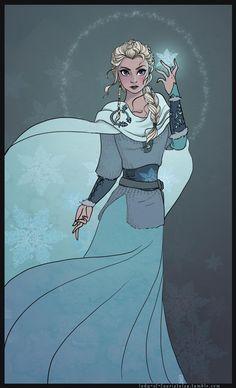 """Viking Elsa by Reine-Haru.deviantart.com on @DeviantArt - From """"Frozen"""". I love this concept!"""