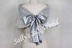 NEW SILVER FAUX FUR SHRUG/BOLERO SATIN RIBBON UK 8-18 | eBay