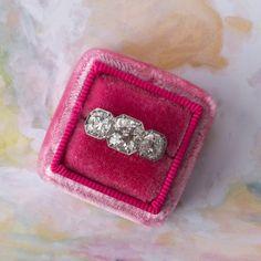 Stunning Edwardian era three stone diamond engagement ring <3