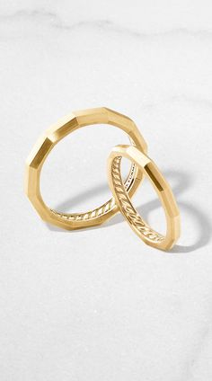 DY Delaunay faceted Wedding Bands.