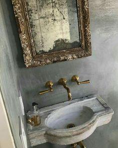 gorgeous marble sink in a powder bath Bad Inspiration, Bathroom Inspiration, Bathroom Interior, Modern Bathroom, Classic Bathroom, Ideas Baños, Drop In Bathroom Sinks, Sinks For Small Bathrooms, Master Bathroom