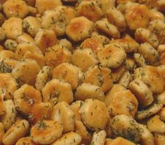 This stuff is so addictive! 1 (1 oz) package ranch dressing mix 1/4 cup canola or vegetable oil 1/2 t garlic powder (or to your taste) salt to taste 1 box or bag oyster crackers Preheat oven to 250°. In a large mixing bowl, combine first 5 ingredients and mix well. Stir in oyster crackers mix to coat. Pour crackers onto a large cookie sheet. Bake 15 minutes, stirring every 5 minutes or so.... by Heba Hassan