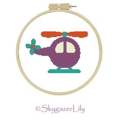 Instant Download Cross Stitch Pattern - Purple Helicopter - Beginners Printable PDF