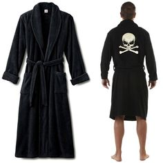 Classic skull and bone pirate theme' #embroidered logo on black #bathrobes in white thread on the back