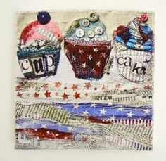 Freddy And Freya Trio Of Cupcakes Canvas - Gorgeous Gifts Free Motion Embroidery, Free Machine Embroidery, Free Motion Quilting, Embroidery Applique, Cupcake Art, Textiles Techniques, Textile Fiber Art, Edible Art, Altered Art