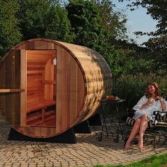 The 2 Person Barrel Sauna brings the spa to your backyard! Features Includes bucket, ladle, thermometer and light Barrel Sauna Clear grade cedar Polished stainless steel bands, brackets and hinges. Sauna Kits, Sauna Ideas, Barrel Sauna, Outdoor Sauna, Steam Sauna, Tree House Designs, Garden Oasis, Hotel Spa, Costco