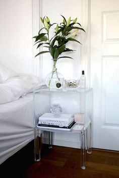 Decorating Tricks for Your Bedroom Bright White Bedroom With Acrylic Furniture Accents. MoreBright White Bedroom With Acrylic Furniture Accents. Lucite Furniture, Acrylic Furniture, Furniture Design, Acrylic Nightstand, Furniture Ideas, Glass Nightstand, Glass Furniture, Nightstand Ideas, Plywood Furniture