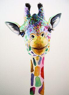 Giraffe 4 by Giraffe Painting, Giraffe Art, Giraffe Drawing, Animal Paintings, Animal Drawings, Art Drawings, Watercolor Animals, Watercolor Art, Giraffe Pictures