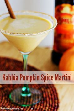 Kahlúa Pumpkin Spice Martini recipe -- an Autumn-inspired cocktail featuring limited edition Kahlúa Pumpkin Spice liqueur and a pumpkin spice sugar rim