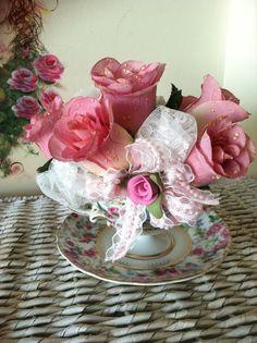 Teacup silk floral arrangement with Roses by Roseantiqueboutique, $28.99