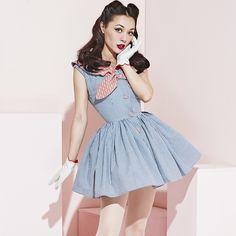 le palais vintage Classic Sailor Collar Dress Youth Sweet Blue Plaid Ball Gown Dress Empire Waist 50s Pin Up Vintage