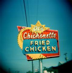 Fried Chicken    Al's Chickenette, Hays, Kansas.    Holga, Fuji Pro 400.
