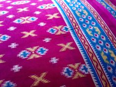 Cotton Ikat Print Indian Fabric Magenta Blue White by RaajMa