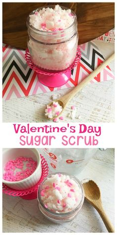 Valentines Day Gifts : This Valentine's Day Sugar Scrub would make a perfect gift for Valentine's Day – or just keep it for yourself! It's easy to make and so pretty for Valentine's Day! Valentines Day Gifts : This Valentine's Day Sugar Scrub would Diy Gifts Valentine's Day, Valentine's Day Diy, Spa Gifts, Kids Gifts, Sugar Scrub Homemade, Sugar Scrub Recipe, Diy Body Scrub, Diy Scrub, Homemade Valentines