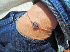 Turkish eye  Hearth bracelet Rhinestone Bracelet by ebrukjewelry