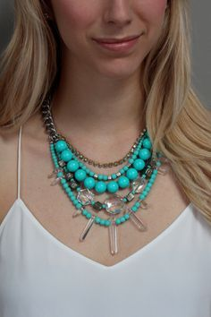 Turquoise statement necklace // summer tones // Lauren Elan
