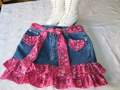 Country western Mini Denim Skirt - Mina B. Rodeo Outfits, Kids Outfits, Little Girl Dresses, Girls Dresses, Skirts For Kids, Girl Dress Patterns, Toddler Girl Style, Jeans Rock, Creation Couture