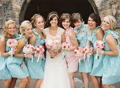 Aqua and pink bridesmaid dresses, maid of honor dress